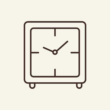Digital alarm clock line icon. Squared clock. Time concept. Vector illustration can be used for topics like time management, clock, every day life