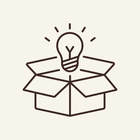 Idea line icon. Shining lightbulb outside open box. Strategy concept. Vector illustration can be used for topics like business, innovation, startup