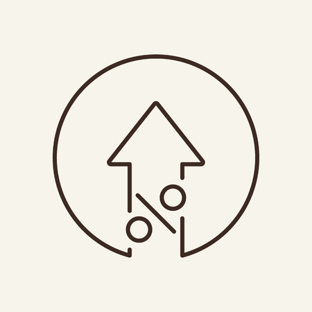 Increase line icon. Arrow up and percent sign in circle. Finance concept. Vector illustration can be used for topics like banking, interest rate, growth, profit