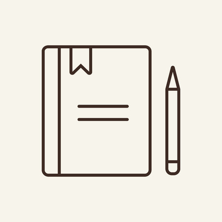 Workbook line icon. Work book, notebook, pen, bookmark. Office concept. Vector illustration can be used for topics like organizer, agenda, planner, schedule