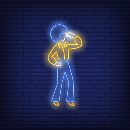 Disco dancer neon sign. Glowing neon dancer in retro style on brick wall background. Vector illustration can be used for topics like night club, dance studio, disco