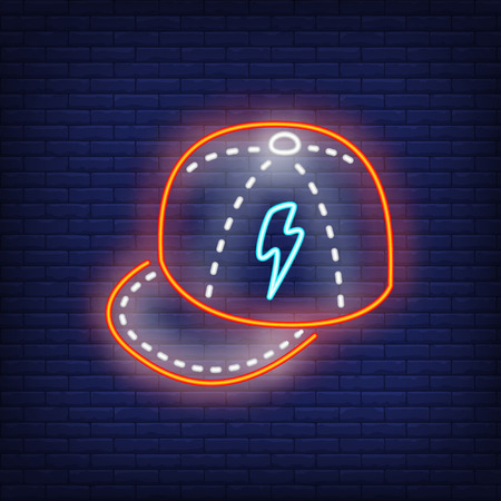 Baseball cap neon sign. Glowing baseball cap on brick wall background. Vector illustration can be used for topics like wardrobe, clothing, fashion