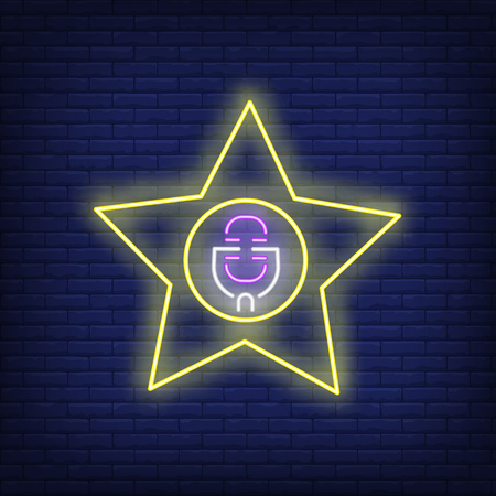 Star singer neon sign. Glowing neon star with microphone on brick wall background. Vector illustration can be used for topics like pop star, scene, fame