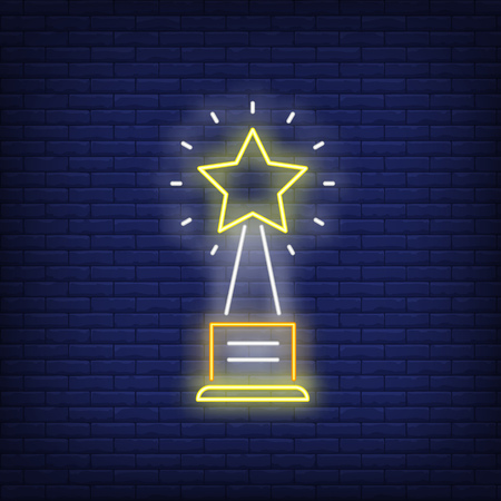 Yellow star prize neon sign. Glowing neon yellow star figure on brick wall background. Vector illustration can be used for topics like pop star, scene, fame 矢量图像