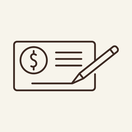 Bank check line icon. Money, payment, signature. Salary concept. Can be used for topics like investment, economy, income