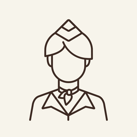 Stewardess line icon. Flight attendant, crew, job. Aviation concept. Can be used for topics like airline, transportation, career