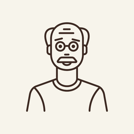 Grandfather line icon. mustache, bald, wrinkle. Generation concept. Can be used for topics like grandparent, retirement, pensioner