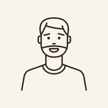 Man with beard line icon. Unshaven, happy, cool. Salon concept. Can be used for topics like macho, hipster, guy