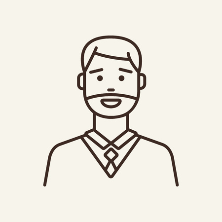 Middle-aged man line icon. Confident, unshaven, cheerful. Lifestyle concept. Can be used for topics like career, manager, businessman