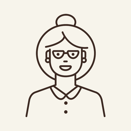 Woman in glasses line icon. Happy, hair bun, lady. Businesswoman concept. Can be used for topics like vision, teacher, professor