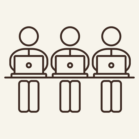 Workers line icon. Laptop, programmer, employee. Department concept. Can be used for topics like colleague, worker, career