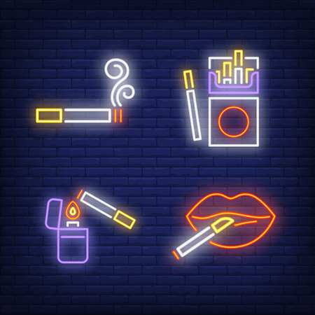 Cigarettes, woman lips and lighter neon signs set. Smoking, healthcare and addiction design. Night bright neon sign, colorful billboard, light banner. Vector illustration in neon style.