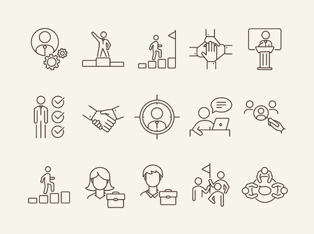 Professional icons. Line icons collection. Employee search, business group, meeting. Leadership concept. Vector illustration can be used for topics like business, human resources, partnership