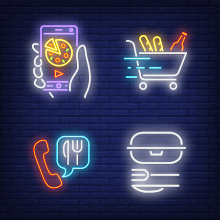 Meal online, phone order and cart with food neon signs set. Food delivery service and takeaway meal design. Night bright neon sign, colorful billboard, light banner. Vector illustration in neon style. Illustration