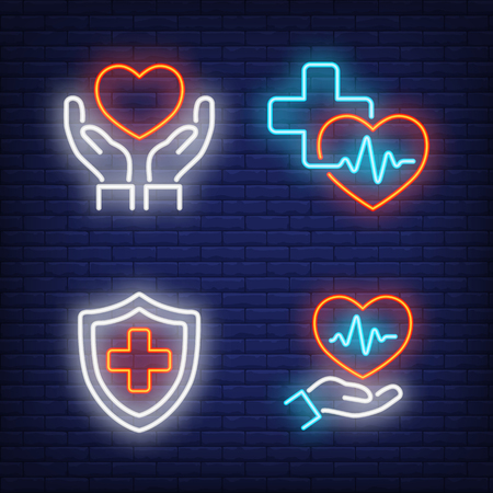 Hearts, crosses and cardiograms neon signs set. Medicine, cardiology and healthcare design. Night bright neon sign, colorful billboard, light banner. Vector illustration in neon style. Stock Illustratie