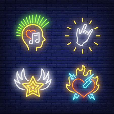 Rock music neon signs set. Leisure and entertainment design. Night bright neon sign, colorful billboard, light banner. Vector illustration in neon style.