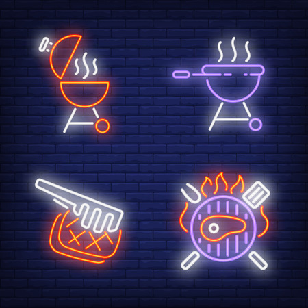 BBQ equipment and grilled steaks neon signs set. Grill, barbeque, dinner design. Night bright neon sign, colorful billboard, light banner. Vector illustration in neon style.
