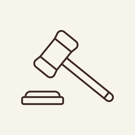 Judge hammer line icon. Gavel, trial, auction. Justice concept. Vector illustration can be used for authority, court, verdict.