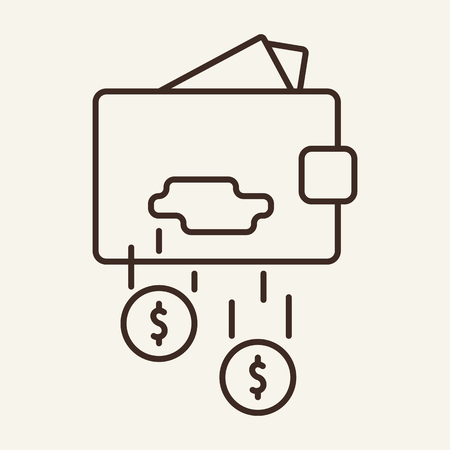 Leaky wallet line icon. Purse, breach, hole, falling cash. Finance concept. Vector illustration can be used for money wasting, loss, personal budget