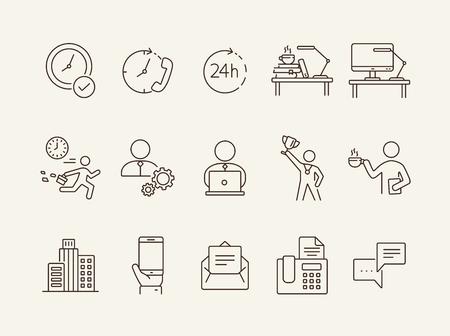 Conjunto de iconos de línea de día de la semana. Tarde para el trabajo, descanso para tomar café, edificio de oficinas. Concepto de negocio. Puede usarse para temas como trabajador, empleado, gerente