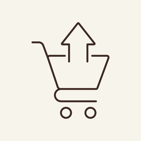Removing from cart line icon. Button, arrow up, basket, cancel. Shopping concept. Vector illustration can be used for web design, online store, ordering