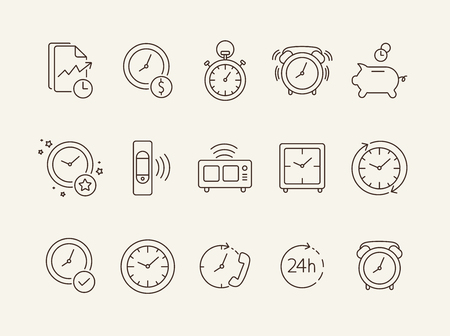 Clock line icon set. Stopwatch, watch, smart band, alarm. Time concept. Can be used for topics like time management, morning, limit Vectores
