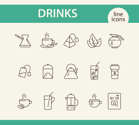 Drinks line icon set. Turkish coffee pot, French press, paper cup. Drink concept. Can be used for topics like coffee shop, cafe menu, restaurant
