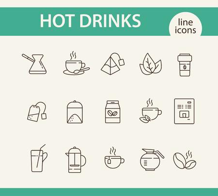 Zestaw ikon linii gorące napoje. Kubek, papierowy kubek, torebka herbaty, dzbanek, kawa. Koncepcja picia. Może być używany do tematów takich jak kawiarnia, menu kawiarni, zdrowy styl życia