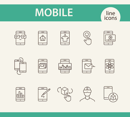 Mobile line icon set. Technology concept. Vector illustrations can be used for topics like internet, modern technology, computer systems