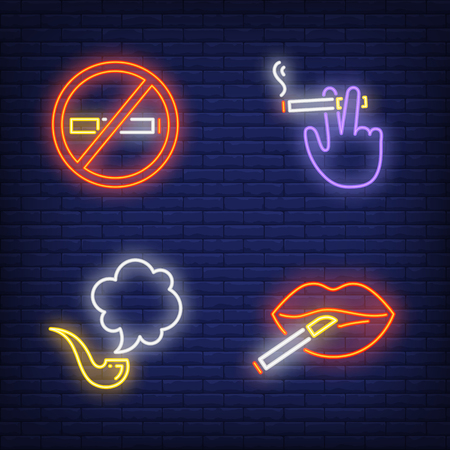Cigarettes, woman lips and smoking pipe neon signs set. Smoking, healthcare and addiction design. Night bright neon sign, colorful billboard, light banner. Vector illustration in neon style. Vettoriali