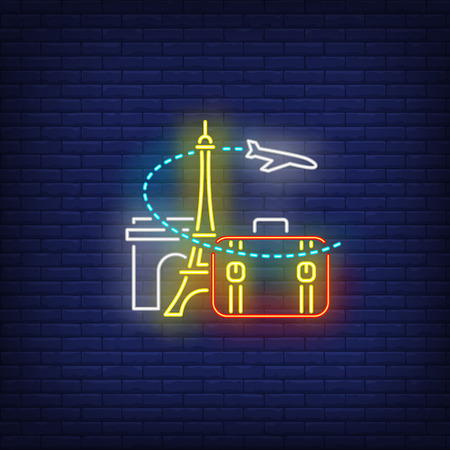 Airplane, suitcase, Eiffel tower and Arc de Triomphe neon sign. Tourism, vacation, travel design. Night bright neon sign, colorful billboard, light banner. Vector illustration in neon style.