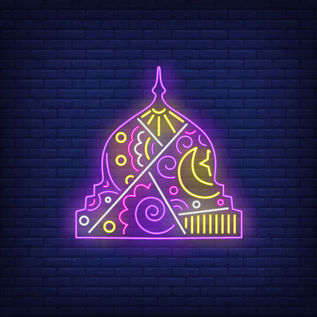 Decorated mosque dome neon sign. Islam, religion design. Night bright neon sign, colorful billboard, light banner. Vector illustration in neon style.