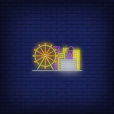 City buildings and ferris wheel neon sign. Architecture and downtown design. Night bright neon sign, colorful billboard, light banner. Vector illustration in neon style.