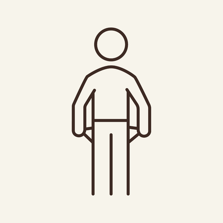 Bankrupt lock line icon. Person showing empty pocket. Bankruptcy concept. Vector illustration can be used for unemployed, finance insolvency, poverty Ilustração
