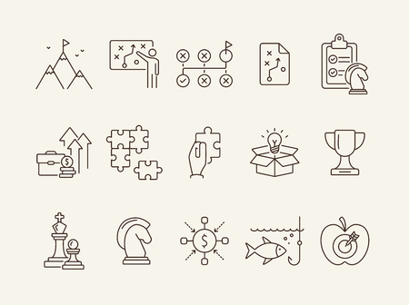 Advanced training icon set. Line icons collection on white background. Puzzle, coaching, skill. Experience concept. Can be used for topics like career, motivation, strategy Illustration