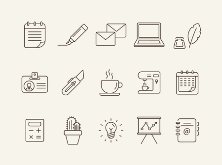 Office icon set. Line icons collection on white background. Coffee, planner, freelancing. Management concept. Can be used for topics like business, work, presentation 版權商用圖片 - 120516695