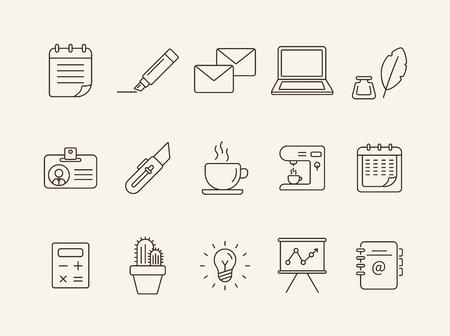 Zestaw ikon pakietu Office. Kolekcja ikony linii na białym tle. Kawa, planer, freelancer. Koncepcja zarządzania. Może być używany do tematów takich jak biznes, praca, prezentacja
