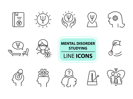 Mental disorder studying line icon set. Psychologist, hypnosis, metronome. Psychology concept. Can be used for topics like behavioral therapy, mental science, research Illustration