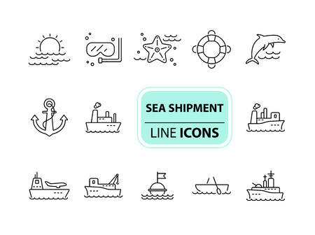 Sea shipment line icon set.Sea transportation concept. Vector illustration can be used for topics like marine, transport, travel