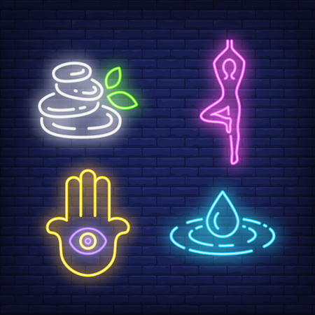 Person doing yoga, hamsa hand and spa stones neon signs set. Harmony and meditation design. Night bright neon sign, colorful billboard, light banner. Vector illustration in neon style.