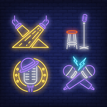 Spotlights and microphones neon signs set. Show invitation, entertainment, and concert design. Night bright neon sign, colorful billboard, light banner. Vector illustration in neon style.