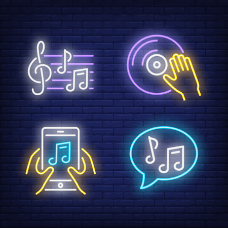 Vinyl disk, music notes and smartphone app neon signs set. Music, DJ and party design. Night bright neon sign, colorful billboard, light banner. Vector illustration in neon style.