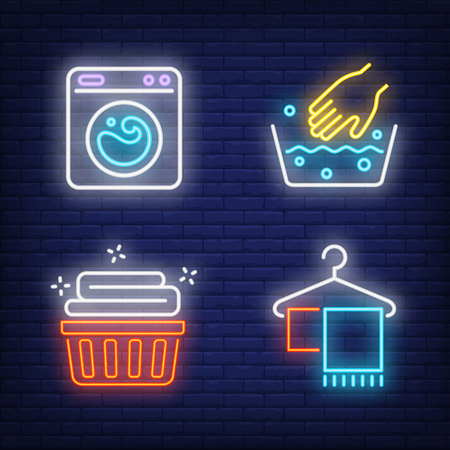 Washing machine, hand washing and clean linen neon signs set. Laundry service and housework design. Night bright neon sign, colorful billboard, light banner. Vector illustration in neon style.