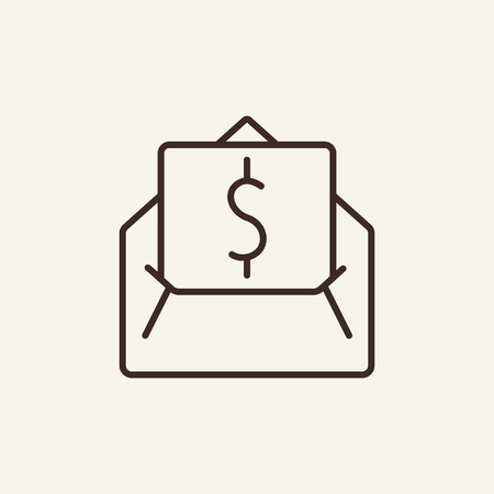 Dollar letter line icon. Money, envelope, message, note, newsletter. Currency concept. Vector illustration can be used for topics like for transfer, transaction, payment, tax, bribe Çizim