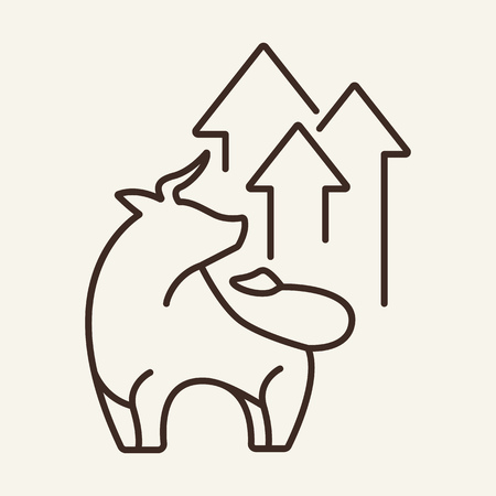 Bull trend line icon. Bull with arrows up. Trade concept. Vector illustration can be used for topics like for stock exchange market, finance, growth, increase