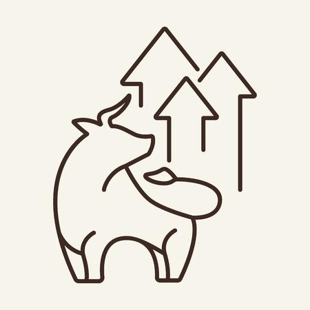Icono de línea de tendencia alcista. Toro con flechas hacia arriba. Concepto de comercio. La ilustración vectorial se puede utilizar para temas como el mercado bursátil, las finanzas, el crecimiento, el aumento. Ilustración de vector
