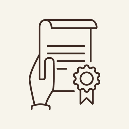 Certificate in hand line icon. Holding document or paper with seal. Insurance concept. Vector illustration can be used for topics like insurance document, diploma, approval, warranty Иллюстрация