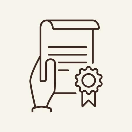 Zertifikat in der Hand Symbol Leitung. Halten von Dokument oder Papier mit Siegel. Versicherungskonzept. Vektorillustration kann für Themen wie Versicherungsdokument, Diplom, Zulassung, Garantie verwendet werden Vektorgrafik