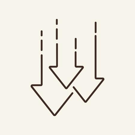 Diminuer l'icône de la ligne. Flèches vers le bas, graphique, chute. Notion de commerce. L'illustration vectorielle peut être utilisée pour des sujets tels que la bourse, l'économie, la crise, la perte