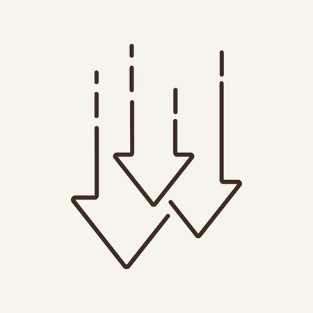 Decrease line icon. Arrows down, graph, falling. Trade concept. Vector illustration can be used for topics like for stock market, economy, crisis, loss